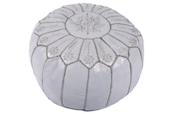 Grey smoke leather pouf