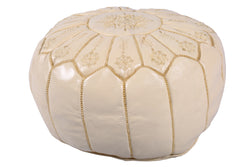 White leather pouf with golden stitching 54