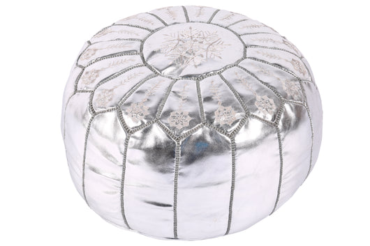 Luxurious silver embroidered pouf 61