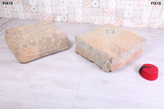 Soft oriental Moroccan rug pouf with geometric design