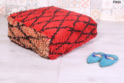 Hand-made Moroccan lattice rug pouf