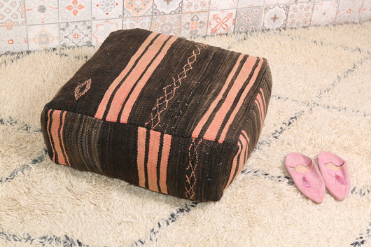 Rose and brown Moroccan kilim pouf