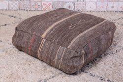 Stylish brown Moroccan kilim pouf