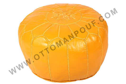 Yellow leather Pouf 2