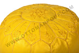 Embroidered leather Pouf in lemon 5