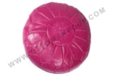 Magenta leather Pouf 7