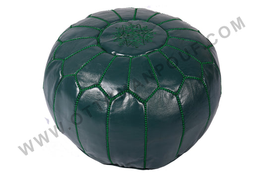 Dark green leather pouf 23