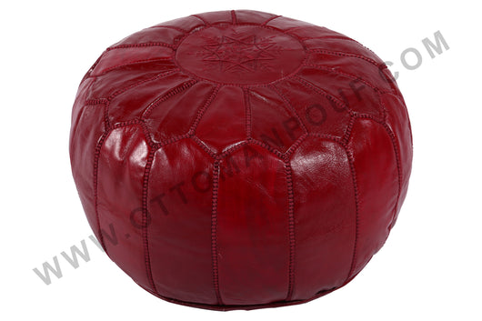 Burgundy leather Pouf 22