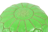 Salad green leather pouf 41