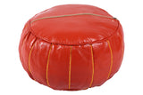 Spice orange leather pouf 28