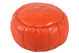 Tangerine Orange leather pouf 25