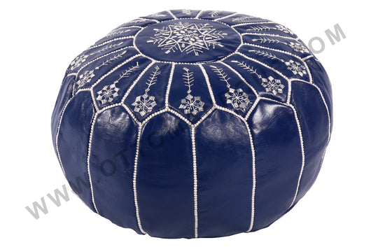 Dark blue leather pouf with white stitching 10