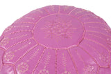 Plum embroidered leather pouf 42