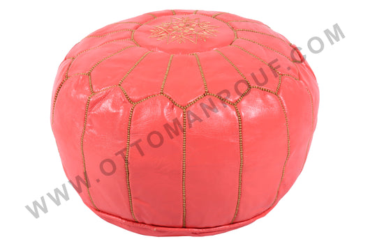 Pink leather Pouf 20