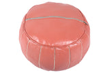 Leather pouf, peach 36