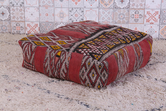 Ethnic embroidered Moroccan kilim pouf