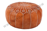 Cinnamon embroidered leather Pouf 8