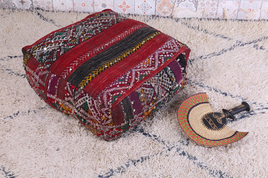 Embroidered Moroccan kilim pouf with sequence
