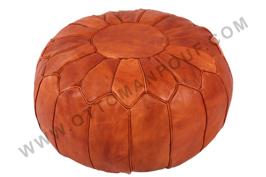 Honey brown leather pouf 19