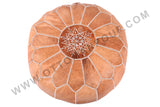 Nouble brown leather pouf 11