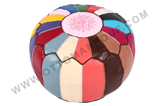 Colorful leather pouf 16