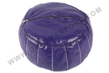 Dark blue leather pouf with pink stitching 15