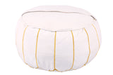 White leather pouf with golden stitching 55