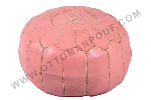 Leather pouf in powder rose 14