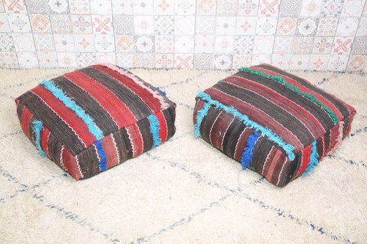 Practical and stylish Moroccan kilim pouf