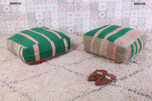 Green striped Moroccan kilim pouf