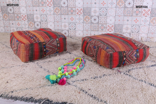 Red and saffron Moroccan kilim pouf