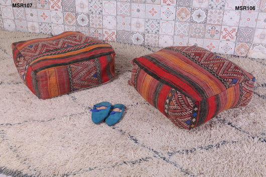 Bright saffron and red Moroccan kilim pouf