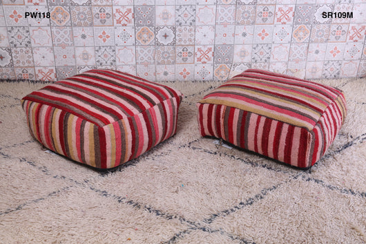 Striped Moroccan kilim pouf