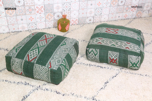 Green Moroccan kilim pouf with embroidery