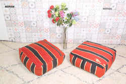 Black and red Moroccan kilim pouf