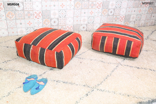Striped red Moroccan kilim pouf