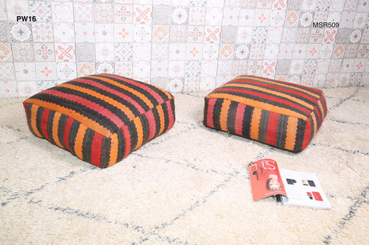 Bright, striped Moroccan kilim pouf