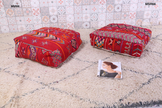 Moroccan kilim pouf with embroidery