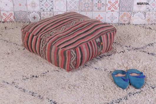 Earthy and cozy Moroccan kilim pouf