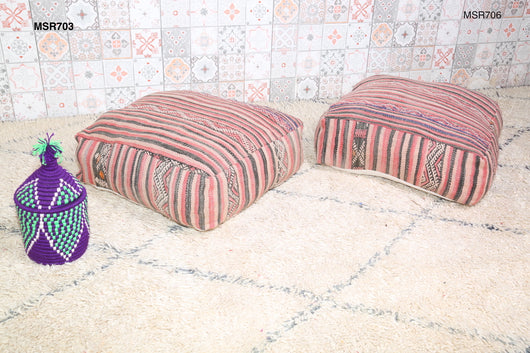 Attractive striped Moroccan kilim pouf