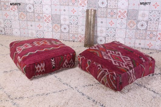 Dark red Moroccan kilim pouf