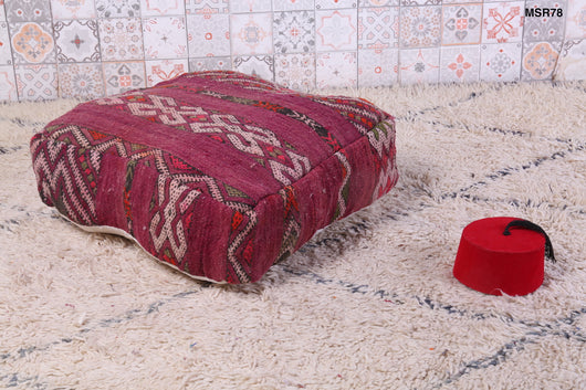 Wine-red Moroccan kilim pouf