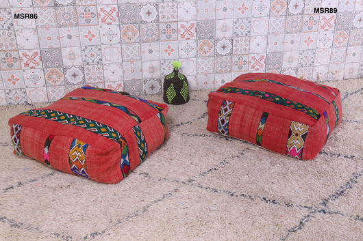 Traditional red Moroccan kilim pouf