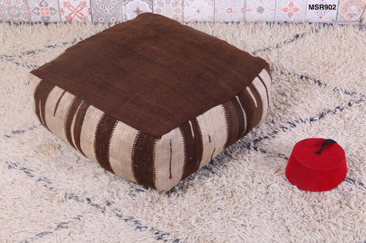 Moroccan kilim pouf in chocolate