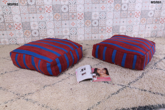 Wine red and blue Moroccan kilim pouf