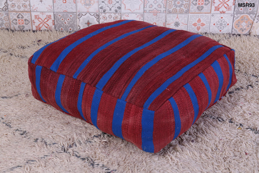 Dark red and blue Moroccan kilim pouf