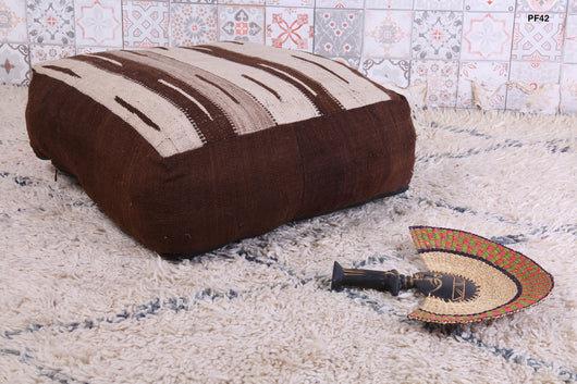 Chocolate and beige Moroccan kilim pouf