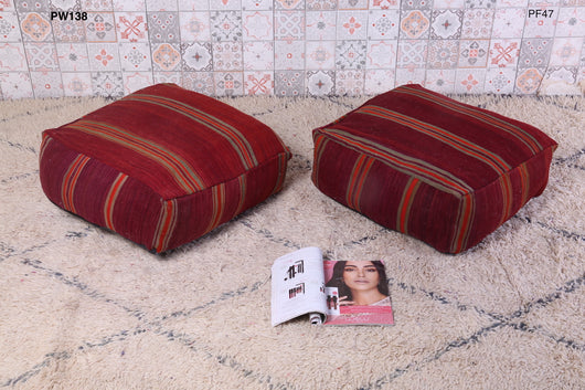 Rusty-red Moroccan kilim pouf