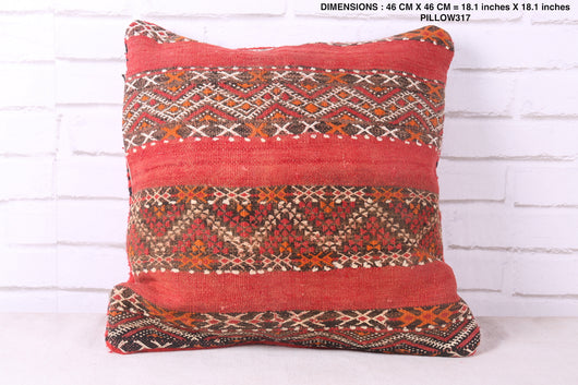 Square red Moroccan rug pillow