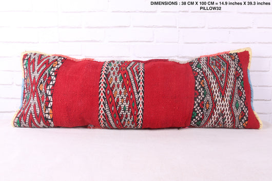 Red bohemian Moroccan rug pillow
